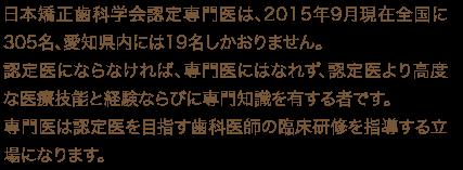 日本矯正歯科学会認定専門医は、2015年9月現在全国に305名、愛知県内には19名しかおりません。認定医にならなければ、専門医にはなれず、認定医より高度な医療技能と経験ならびに専門知識を有する者です。専門医は認定医を目指す歯科医師の臨床研修を指導する立場になります。